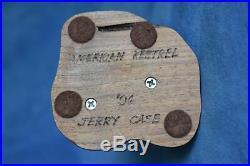 Vintage Signed JERRY CASE'96 American Kestrel Hand Carved Painted Wood Figure
