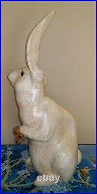Vintage Signed LEO KOPPY Bunny Rabbit Carved Wood Decoy Sculpture RARE