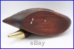 Vintage Solid Wood Decoy Sculpture Swan with Brass Tip Beak 16 Long
