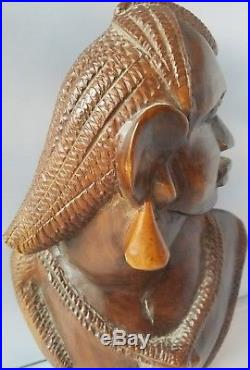 Vintage Solid Wood Hand Carved African Art Head Statue Sculpture Figure Bust 13