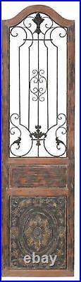 Vintage Style Antique Victorian Door Wall Art Sculpture Panel Wood & Metal