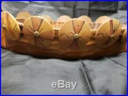 Vintage Swedish Hand Carved Wood Ahrneberg Viking Ship Bowl Scandinavia Folk Art