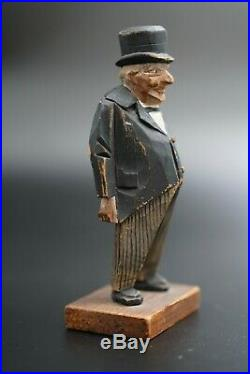 Vintage Swedish Wood Carving Winston Churchill Figurine by TRYGG Signed 5 5/8 H