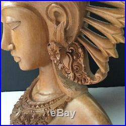 Vintage Tantra Gallery Bali Wood Carving Sculpture Bust Figure Large Ornate