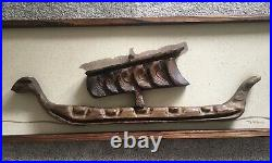 Vintage Tiki Art Polynesian Long Boat -Large 3D Carved Wall Sculpture 42x16