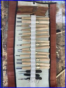 Vintage Traditional Japanese Wood Carving Chisel Set With Canvas Wrap