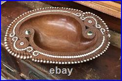 Vintage Trobriand Islands Wooden Shell Inlay Bowl Carving Ethnographic Tribal