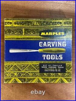 Vintage Unused Set of Marples No. 60 Wood Carving Tools Chisels Gouges