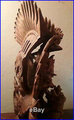 Vintage Vishnu Garuda Wood Lotus Carving Highly Detailed Hand Carved Bali Batuan