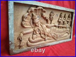 Vintage Vishnu Wall Panel Hindu Temple Wooden Statue Murti Sculpture Plaque Art