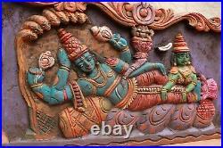 Vintage Vishnu Wall Panel Statue Hindu God Mahavishnu Wooden Temple Sculpture