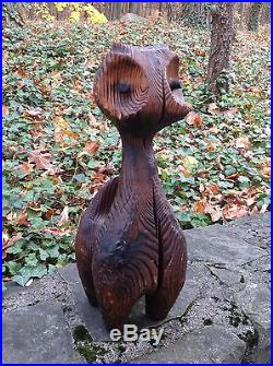 Vintage WITCO Carved Wood CAT SCULPTURE Retro MCM Elvis Era TIKI 1960s-1970s
