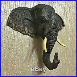 Vintage Wall Hanging Elephant Wood Art Carved Face Mask Sculpture Home Decor