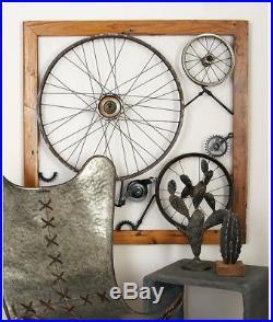 Vintage Wheels Gears Wall Art Sculpture Framed 3D Industrial Decor Iron Wood