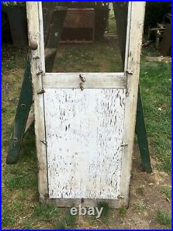 Vintage White Shabby Farm House Screen Door wood window Screen 71in x 22in