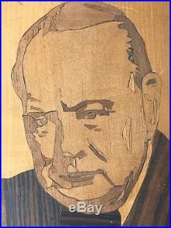 Vintage Winston Churchill Portrait Picture Marquetry Mosaic Sculpture 1950's