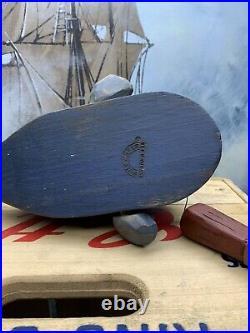 Vintage Wolf Creek Folk Art Wooden Wood Carved Jonah & The Whale Eldora Iowa