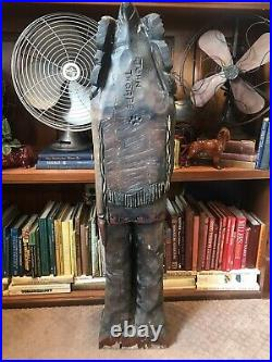 Vintage Wood Carved Indian Statue Holding Rifle Signed John Thorpe 4ft. Tall