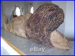 Vintage Wood Carved Laying Mermaid Sculpture Art 47 Long