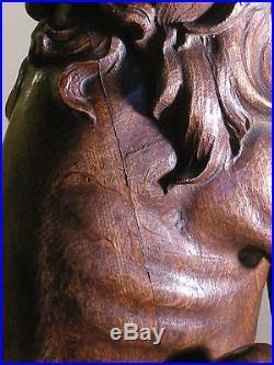 Vintage Wood Carved Lion Sculpture Decorative Fixture Stair Newel Post Finial