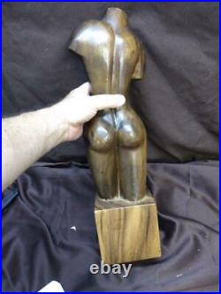 Vintage Wood Carving Carved Wooden Statue Nude Female Woman Art Sculpture MCM
