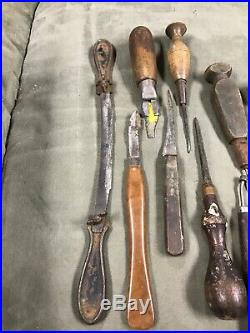 Vintage Wood Carving Tools (22). Chisels, Gouges, Drawing Knife, Blades, Clamps