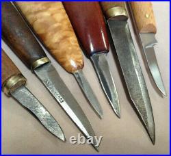 Vintage Wood Chip Carving Knife 6 Piece Lot Woodcraft Germany Edward Zinn Sweden