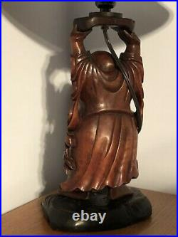 Vintage Wood Laughing Buddha Sculpture Lamp Hand Carved With Hemp Shade NICE