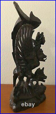 Vintage Wood Sculpture Figurine Vishnu Riding Garuda, Serpent, Bali, 17, Nice