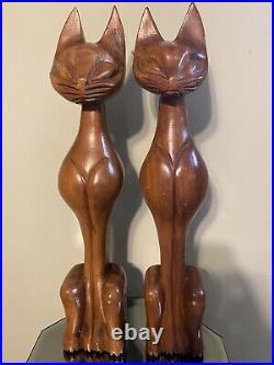 Vintage Wood Siamese Cat Sculpture Mid Century Modern Hand Carved MCM 20 Pair