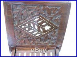 Vintage Wood Wooden Cigarette Dispenser Piano Handmade Floral Motifs Carving