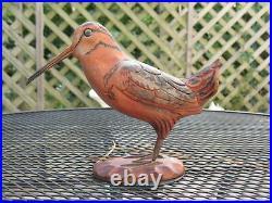 Vintage Woodcock Wood Carving Bird Fowl 1940 Harold Sears Jr. #5 Hand Painted