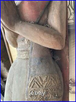 Vintage Wooden Large Carving Of An Asian Lady 3ft Tall Teak Wood