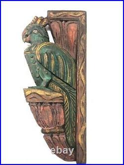 Vintage Wooden Peacock Pair Corbel Bracket Sculpture Shelf Decor Rare Wall Art