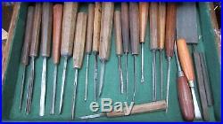 Vintage Woodwork and Wood Carving tools Chisels, Gouges X 55 In Oak Box + Keys