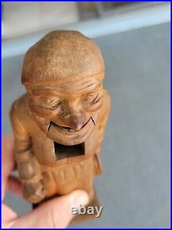 Vintage antique carved wood old woman sculpture nutcracker black forest Anri
