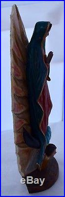 Vintage fine Our Lady of Guadalupe Folk Art church Wood carving Sculpture statue