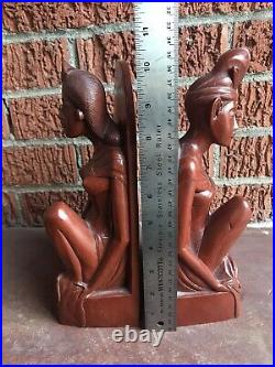 Vintage hand carved Bali Balinese wood figural male female bookends sculpture