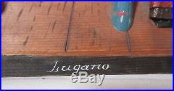 Vintage hand carved wood Lugano figural Folk Art German diorama wall sculpture