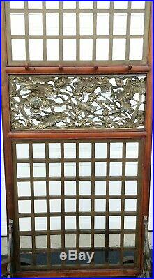 Vintage room divider with hangers sculptural panels asian style birds lotus 69t