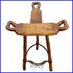 Vintage sculptured Oak Wood Spanish Brutalist'Marbella' Bar Stools 1960's