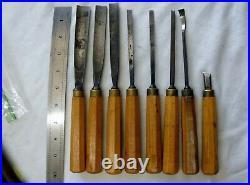 Vintage set of 8 Well Made Labeled Logo wood working Carving Chisel Gouges set