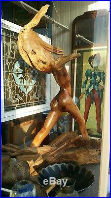 Vintage1973 Wood Carved Nude Woman Figurine Statue Abstract Art Sculpture