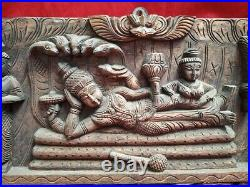 Vishnu Wall Panel Hindu Temple Wooden Vintage Statue Ananthasayanam Sculpture US