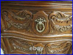 Vtg. 1930's Night Stand French Provincial 3 Drawer Side Table Hand Carving