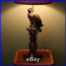 Vtg 38 Falcon Tethered Chain Bird Brass & Wood Table Lamp Sculpture Light