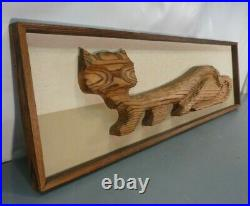 Vtg 48 Witco Mid Century Modern Carved Cat Sculpture Tiki Wall Decor Carving