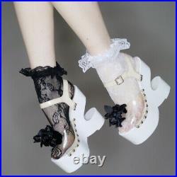 Vtg 60s Womens white disco glam collectable Sabots sculptural platform shoes 6.5