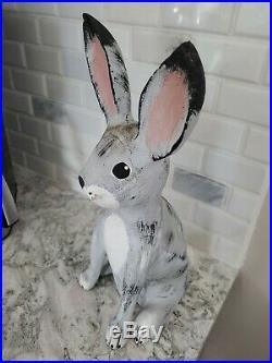 Vtg'91 Folk Art Wooden Sculpture Rabbit Duane Alvarez Santa Fe New Mexico 14