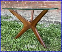 Vtg Adrian Pearsall End Table Glass Pick Top Craft Associate Sculptural Wood MCM